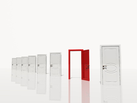 dryness: Sinigle open red door in of several white doors white space