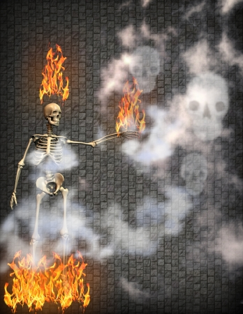 flaming skeleton with smoke skulls photo