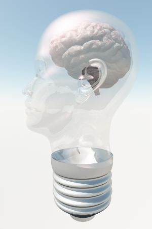 health answers: Light bulb in form of human head with human brain Stock Photo