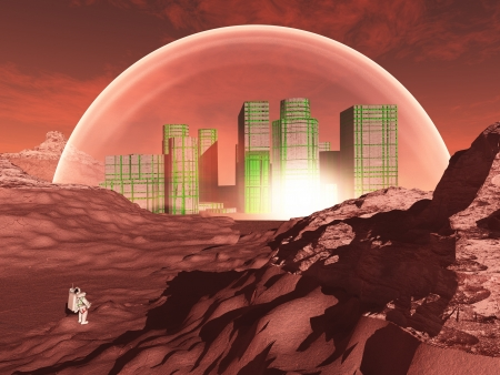 Domed city in inhospitable planet perhaps mars photo