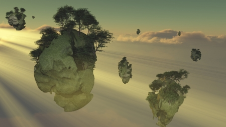 floating island: Islands float above the clouds Stock Photo