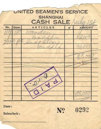 cash receipt: United Seamans Service Shanghai Cash Sale Receipt Circa 1950 Editorial