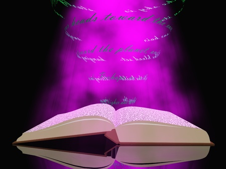 fantasy book: Book with floating text and light