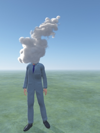 blue sky thinking: Man with cloud for head