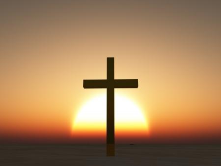 pasqua cristiana: Tramonto o alba con croce