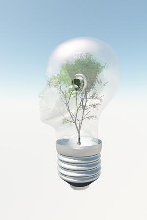 head light: Bombilla de luz cabeza humana con el �rbol que contiene Foto de archivo