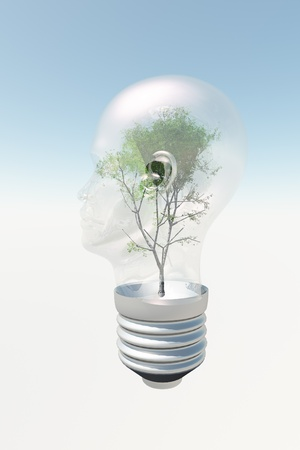 eureka: Human head light bulb with tree contained therein