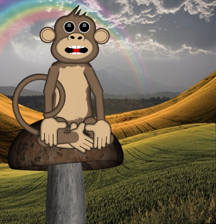conversational: Smart Monkey explains his point to viewer while sitting on toadstoll