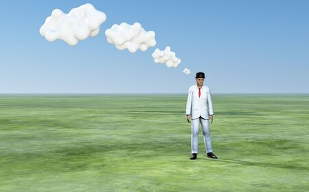 thinking bubble: Man with 3D white thought clouds Stock Photo