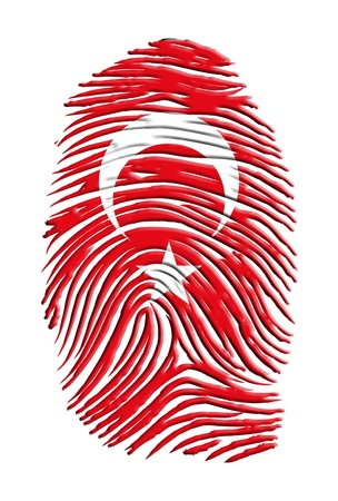 fingermark: Turkish Flag Fingerprint Stock Photo
