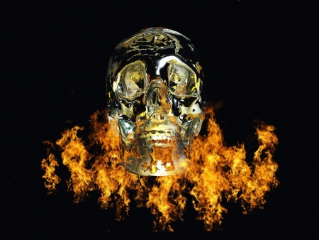 fire skull: Crystal skull surrounded by fire Stock Photo