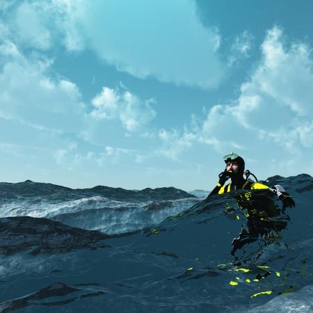 wzburzone morze: Diver na powierzchni szorstkiego morza