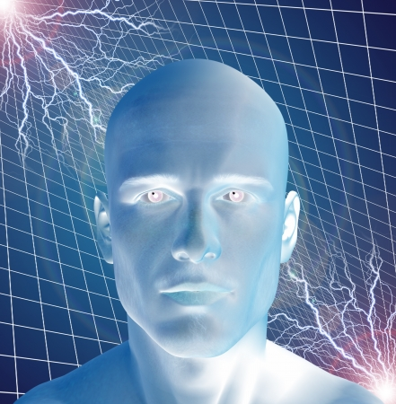 electric grid: Man surreal with electricty Stock Photo