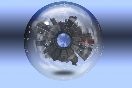 concept images: City Enclosed in glass sphere