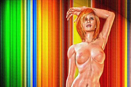 3d nude: Nude Female Model on Abstract Striped Background
