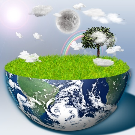 Half earth with green grass and landscape Stock Photo - 15301955