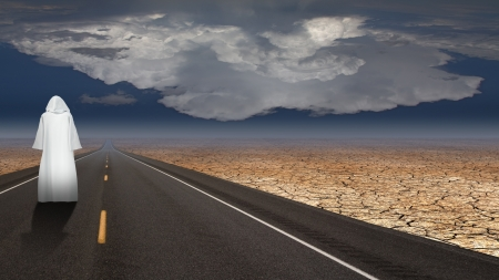 spiritual journey: White robed man on road
