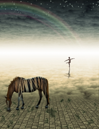 Unreal Horse in mysterious landscape photo