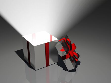 event party festive: Light radiates from open gift box