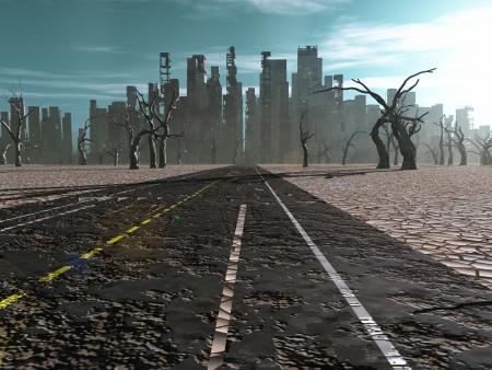 nieużytki: Droga do martwego miasta Zdjęcie Seryjne