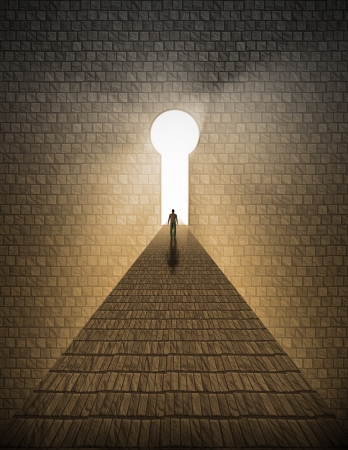 High Resolution Man before keyhole of light 스톡 콘텐츠