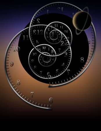 infinity symbol: Spiral clocks and space time Stock Photo