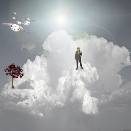 enchantment: Strange scene in clouds Stock Photo
