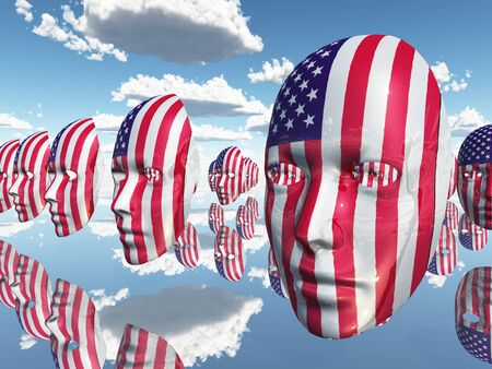 disembodied: USA Disembodied Flag Faces Stock Photo