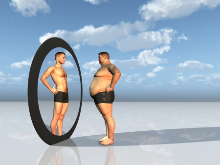 naked body: Man sees other self in mirror