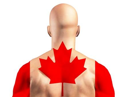 Maple leaf Canada flag on muscular man photo