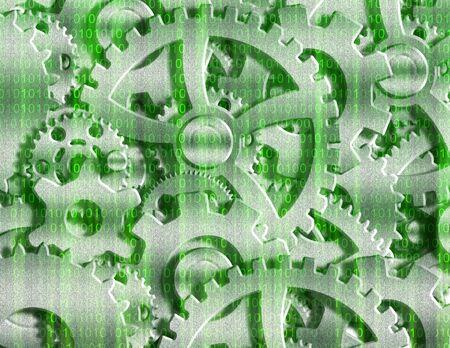 matrix code: Binary Gears Stock Photo