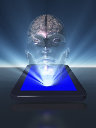 Tablet with brain photo