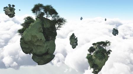 Islas flotar sobre las nubes Foto de archivo - 15536244
