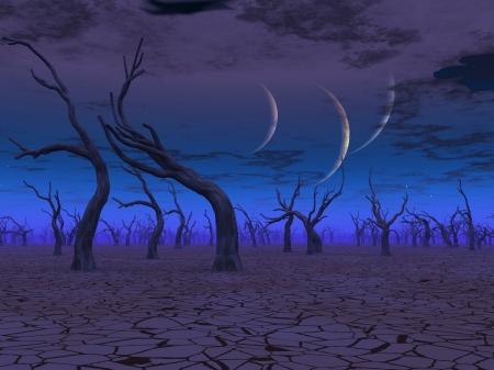 arboles secos: Tres planetas alzarse sobre las tierras muertas