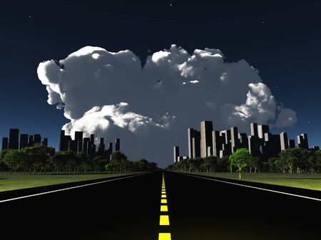 looming: Surreal City night roadway with looming cloud