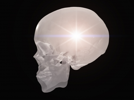 Skull radiates light photo