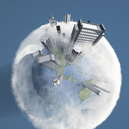City Earth with Clouds Stock Photo - 15793567