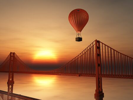Hot Air Balloon and Golden Gate Bridge photo