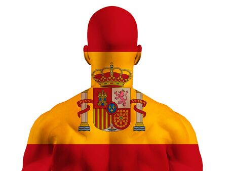Muscular Spain Flag Covered Man Stock Photo