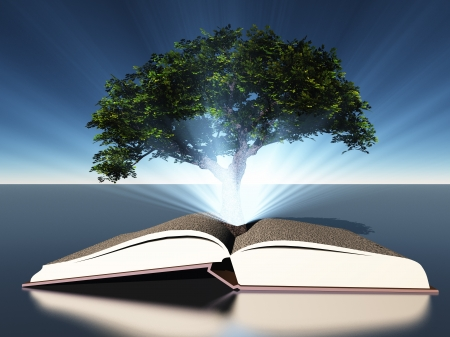 knowledge concept: Tree grows out of open book