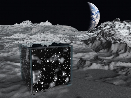 Box on lunar surface contains space photo