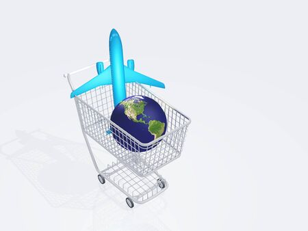Aircraft and earth in shopping cart photo