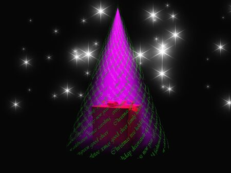 reveals: Christmas text with light in shape of tree reveals gift box