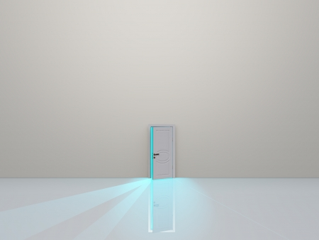 Single door in pure white space emaits light photo