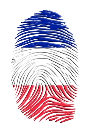 fingerprinted: French  Flag Finger Print Stock Photo