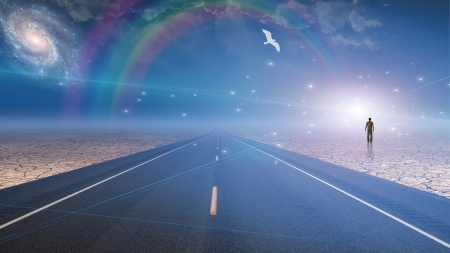 spiritual journey: Man bathed in light and roadway Stock Photo