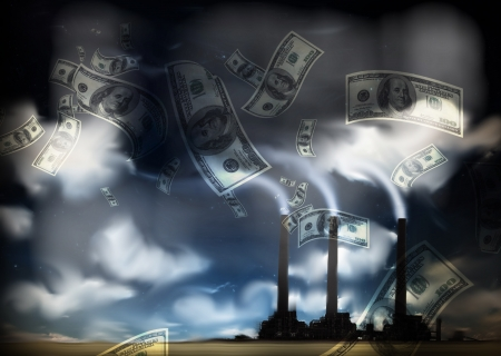 making money: Grunge Landscape with Factory and Currency