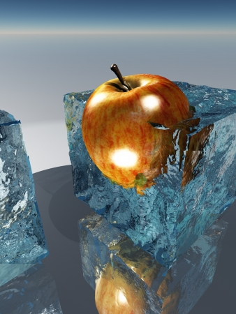 food preservation: Frozen apple food preservation Stock Photo