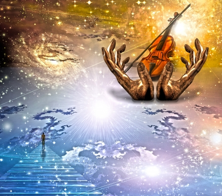 buddhism prayer belief: Face gazing up with violin Stock Photo