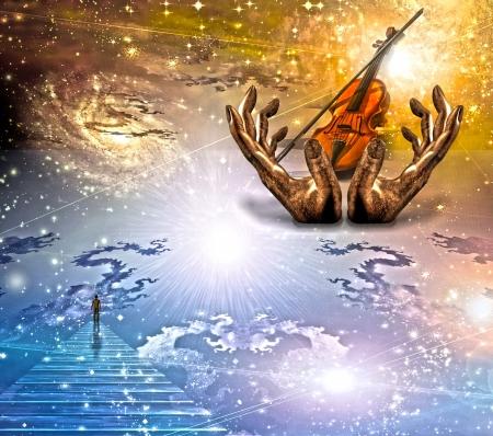 Gezicht en ziet op met viool